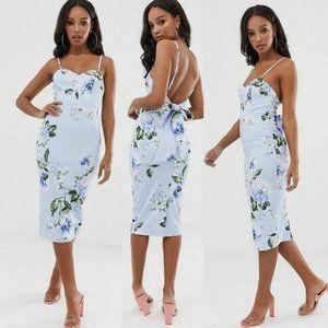 Asos Design Women's Size 8 Floral Tie Back Midi Dr